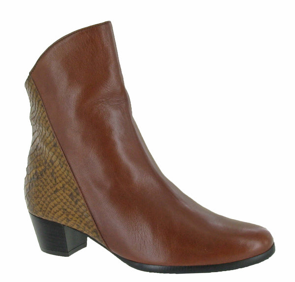 Riva Armadillo Pitone Womens Leather Dress Ankle Boot Tan