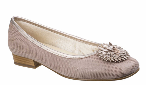 Riva Arvo Womens Printed Suede Slip On Ballerina With Flower Trim Taupe