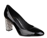 Riva Bosa Womens Feature Heel Patent Dress Court Shoe Black P