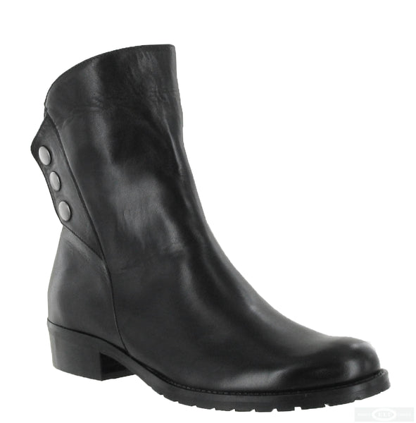 Riva Buttons Womens Leather Ankle Boot Black