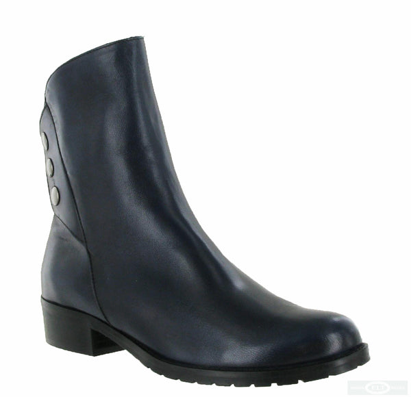 Riva Buttons Womens Leather Ankle Boot Navy