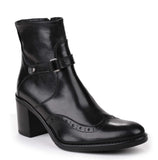 Riva Caino Womens Brogue Detail Dress Ankle Boot Black L