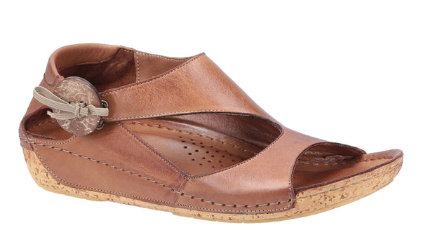 Riva Cartier Womens Button and Bow Detail Slip On Sandal Brown