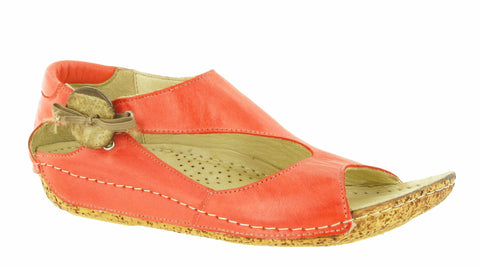 Riva Cartier Womens Button and Bow Detail Slip On Sandal Coral