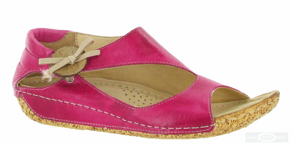 Riva Cartier Womens Button and Bow Detail Slip On Sandal Fuschia