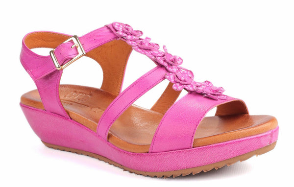 Riva Ciro Womens Flower Detail Platform Sole Summer Sandal Pink