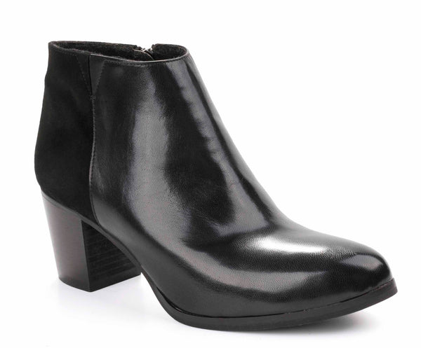Riva Claudia Womens Low Cut Leather And Suede Dress Ankle Boot Black L/S