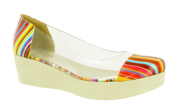 Riva Crispy Womens Platform Sole Slip On Pump Shoe Multi Stripe