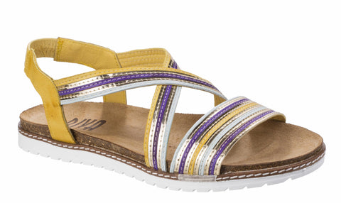 Riva Dante Womens Multicoloured Slip On Slingback Flat Casual Sandal Yellow