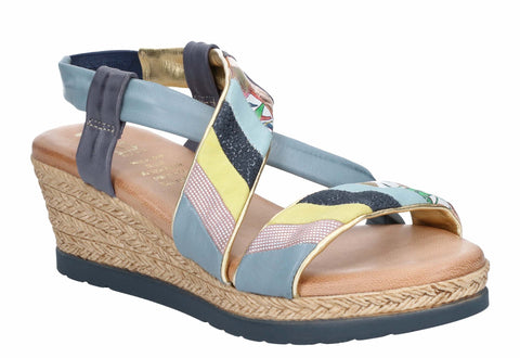 Riva Dime Womens Wedge Heeled Slip On Slingback Leather Sandal