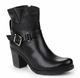 Riva Dolce Womens Buckle Detail Heeled Leather Ankle Boot Black