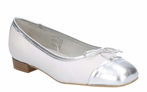 Riva Dora Womens Toecap Detail Slip On Ballerina With Bow Trim