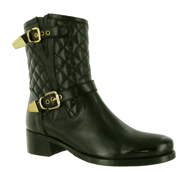 Riva Elegy Womens Quilted Leather Dress Mid Boot Black