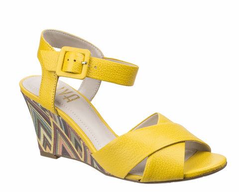 Riva Emilia Womens High Wedge Dress Sandal Yellow/Brown