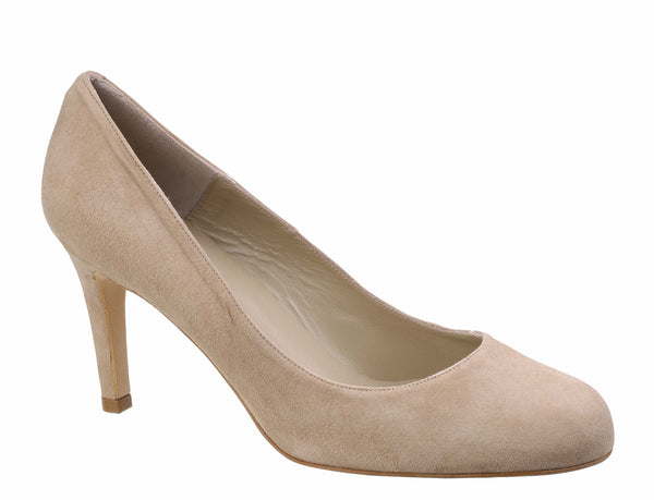 Riva Fermo Womens High Heel Plain Fronted Suede Leather Court Shoe Beige S