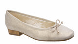 Riva Fiastra Womens Printed Suede Slip On Ballerina Pump With Bow Trim Beige