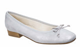 Riva Fiastra Womens Printed Suede Slip On Ballerina Pump With Bow Trim Silver