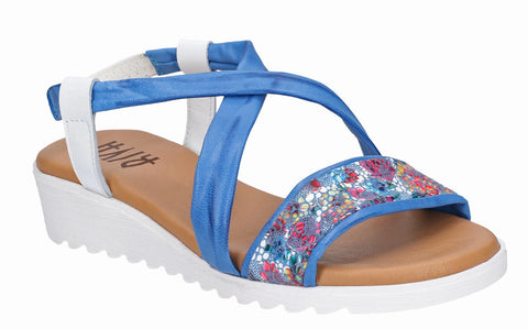 Riva Gozo Elasticated Sling Back Sandal Blue/White