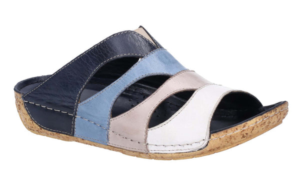 Riva Ibiza Womens Multicoloured Leather Slip On Mule Sandal