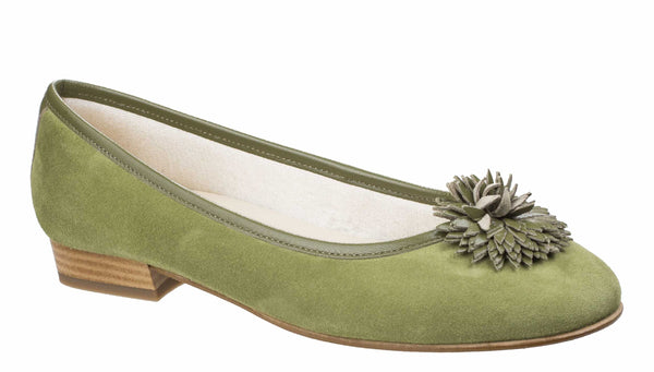 Riva Iseo Womens Suede Slip On Ballerina With Flower Trim Olive
