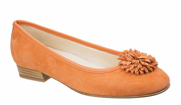 Riva Iseo Womens Suede Slip On Ballerina With Flower Trim Orange