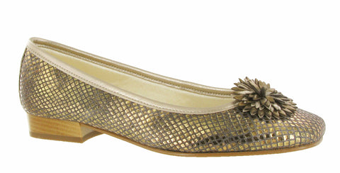 Riva La Plaque Womens Ballerina Shoe With Flower Trim Bronze Snake