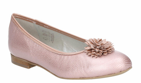 Riva Lark Womens Reptile Print Metallic Leather Ballerina With Flower Trim