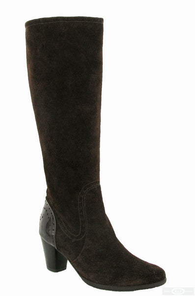 Riva Latina Womens Suede Leather Long Leg Dress Boot Brown S/Pat