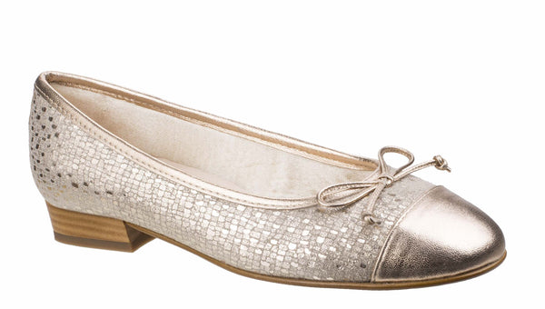 Riva Ledro Womens Printed Suede Slip On Ballerina With Bow Trim Gold