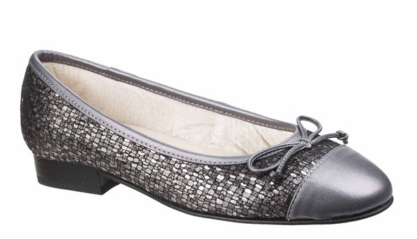 Riva Ledro Womens Printed Suede Slip On Ballerina With Bow Trim Pewter