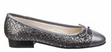 Riva Ledro Womens Printed Suede Slip On Ballerina With Bow Trim
