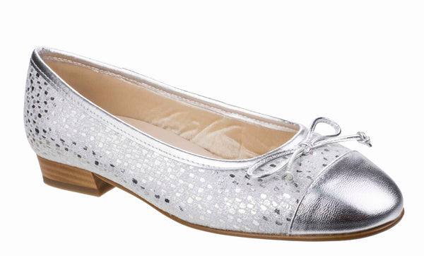 Riva Ledro Womens Printed Suede Slip On Ballerina With Bow Trim Silver