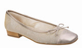 Riva Lucido Womens Leather And Fabric Slip On Ballerina Nude Sparkle