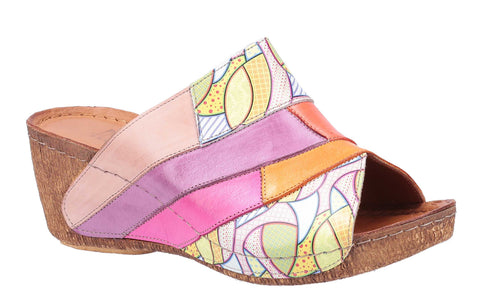 Riva Manresa Womens Multicoloured Wedge Heeled Mule Sandal