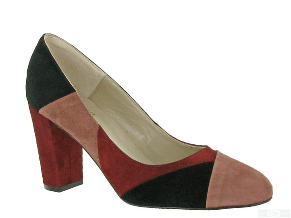 Riva Milana Womens Multicoloured Suede Dress Court Shoe Praline/Blk/Red