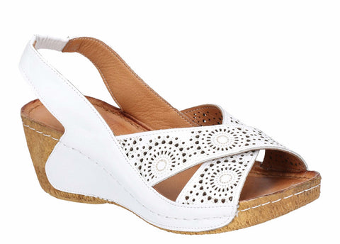 Riva Nector Womens Wedge Heeled Punched Detail Slingback Sandal
