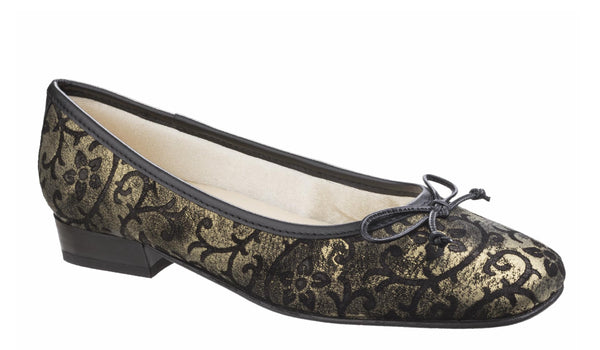 Riva Nicoletta Womens Embossed Print Slip On Ballerina Pump Gold