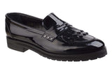 Riva Olympia Womens Classic Patent Slip On Loafer With Fringe Trim Blk P