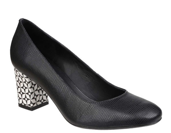 Riva Otranto Womens Feature Heel Printed Leather Dress Court Shoe Black L