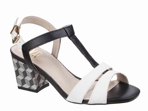 Riva Palmira Womens T-Bar Block Heeled Dress Sandal Wht/Bk