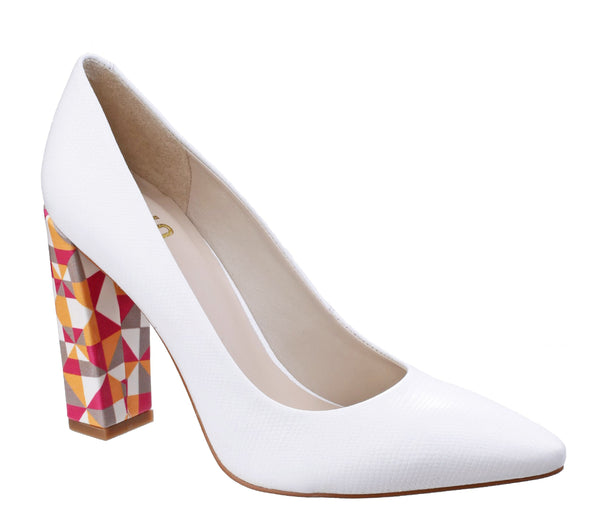 Riva Pandoro Womens Feature Heel Reptile Print Leather Court Shoe White