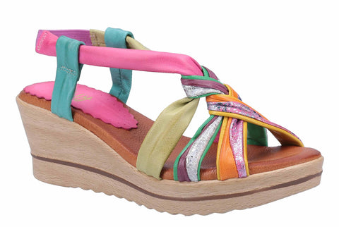 Riva Perpignan Womens Multicoloured Wedge Heeled Leather Slingback Sandal