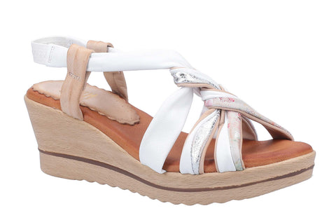 Riva Perpignan Womens Wedge Heeled Leather Slingback Sandal