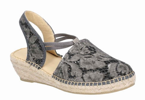 Riva Pisa Slip On Espadrille Anthracite