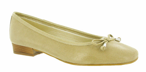 Riva Provence Womens Ballerina With Bow Trim Cappuccino Fish