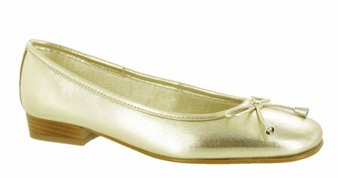 Riva Provence Womens Ballerina With Bow Trim Gold K