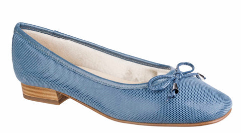 Riva Provence II Womens Slip On Ballerina With Bow Trim Blue Fish