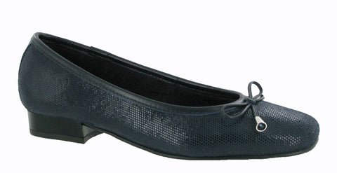 Riva Provence Womens Ballerina With Bow Trim Navy Fish