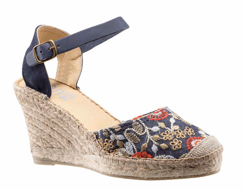 Riva Puffer Womens Floral Embroidered Wedge Heeled Espadrille Sandal