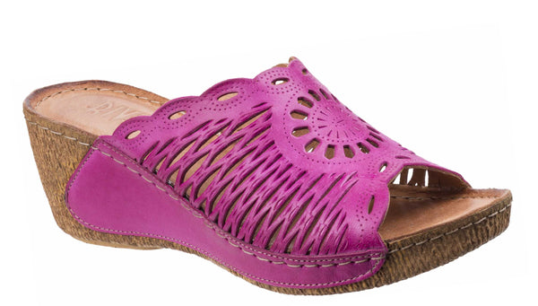 Riva Reggio Womens Lattice Detail Wedge Heeled Mule Sandal Fuchsia